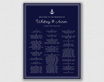 Nautical Anchor Wedding Seating Chart - You Choose the Size - Printable