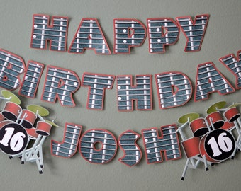 Music Makers Birthday, Rock Birthday, Rock Star Birthday, Drum Guitar Party Decoration 16th 20th 30th 40th 50th 60th
