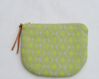 Lime Ogee Padded Round Zipper Pouch / Coin Purse / Gadget / Cosmetic Bag - READY TO SHIP