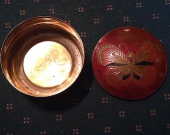 Beautiful Vintage Brass Butterfly Trinket Box