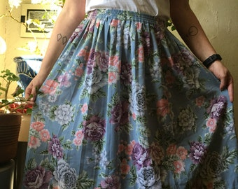 Floral Print Pleated Casual Skirt/FREE SHIPPING