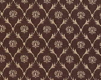 Brown Floral Trellis Jacquard Woven Upholstery Fabric By The Yard   Pattern # B639