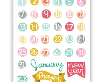 PRINTABLE 31 Days January New Year bible journaling planner stickers prayer scrapbook kit number stickers
