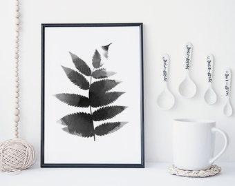 Black and white leaf art print, botanical wall art, watercolor leaf poster, nature art print, minimal & simple illustration, home decor,
