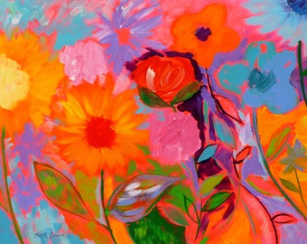 In the Heat of the Moment, 22x28, flower painting, floral art, original art, flower garden art, Spring art, whimsical painting, colorful art