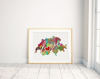 Switzerland Love - Colorful Watercolor Style Wall Art Print & Home Country Map - Travel, Moving, Engagement, Wedding, Honeymoon Gift