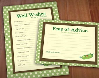PEA POD Advice Cards for Baby Shower- Instant Printable Download