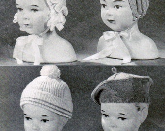 Set of 7 Vintage Baby Hat Knitting Patterns PDF / Baby beret knitting patterns / Baby Bonnet patterns / digital baby hat patterns