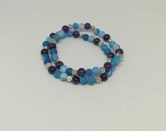 Agates and amethysts bracelet