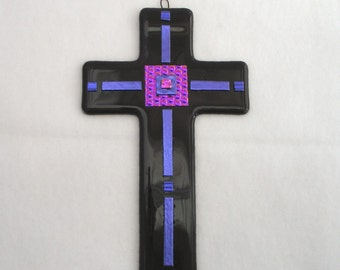 Dichroic Fused Glass Cross - Dark Purple Fused Glass Cross - Fused Glass Wall Decor - Purple with Dichroic Glass Accents - Mothers Day Gift