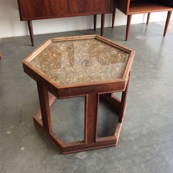Etonnant Brown Saltman Hexagon End Table