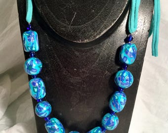 Necklace adjustable polymer clay and fabric, blue and turquoise