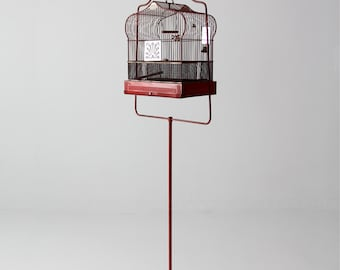 antique bird cage with stand, red Crown birdcage, decorative bird cage