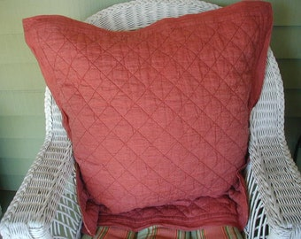 """Vintage Pillow Shams, Pair of Quilted Shams, Euro Size, 30 x 30, Insert Size 26"""", 100% Linen, Brick Red"""