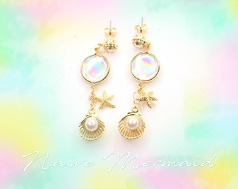 Mermaid's Hologram tear earrings
