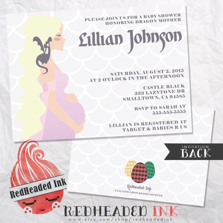 Game Of Thrones Baby Shower Invitation Mother of Dragons