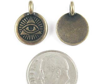 TierraCast Pewter Charms-Brass Oxide Eye of Providence 12x16mm (2)
