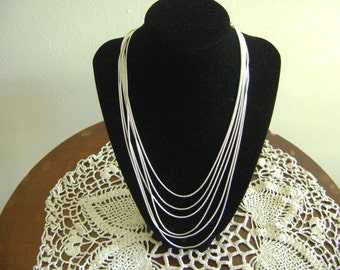 Silver tone Six Strands of Chains Necklace