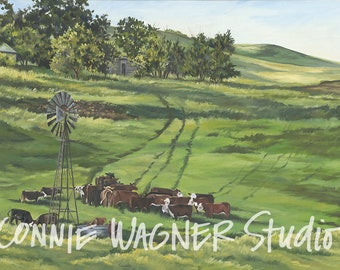 Pasture Out West > Open edition 22 x 16 print of oil painting by Connie Wagner > calving season > Kansas cattle > windmill > cattle farming