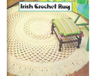 """PDF of vintage crocheted rug pattern, """"Irish (Aran) Crochet Rug"""", lacy and braided, with fringed edge, finished diameter 5 feet, 1960's."""