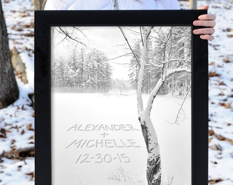 Personalized Winter Wall Decor, Personalized Art, Winter Personalized Print, Personalized Gift, Gift for Couple, Winter Wedding Gift
