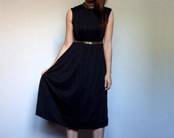 Metallic Dress Vintage Grecian Dress 70s Black Dress Metallic Gold Dress Minimalist Dress - Small to Medium S M