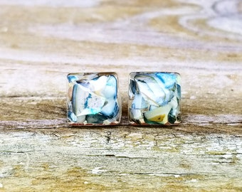 Abalone Stud Earrings, Post Earrings, Seashell, Beach, Coastal, Jewelry, Jewellery, Necklace, Silver, Shells, Resin Jewelry,Summer Accessory