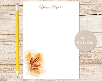 personalized notepad, note pad . autumn rustic leaf notepad . fall leaves . abstract art . personalized stationery . stationary gift