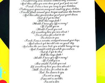 Custom Calligraphy Song- Elegant handwritten song