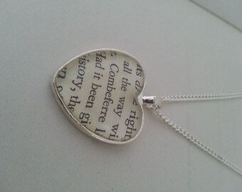 Les Miserables Combeferre Heart Book Page Necklace