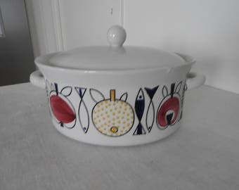 Vintage, Rörstrand/Sweden POMONA casserole dish with lid, tile by Marianne Westman/1950s