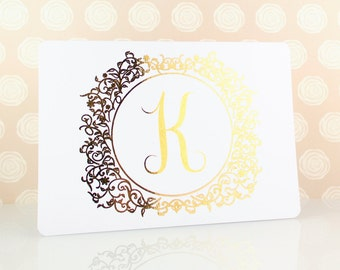 Gold Monogram Note Card Set, Monogram Gift, Real Gold Foil, Personalized Note Card Set, Gold Monogram, Initial Card, Personalized Stationery