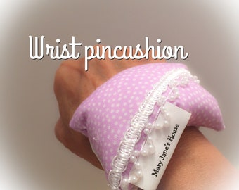 Wrist pincushion , wrist pin cushion , sewing pincushion , handmade pincushion , pin cushion , hands free pincushion