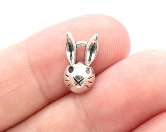 12 Pcs Bunny Rabbit Head Charms Antique Silver Tone 8x14mm - YD2429