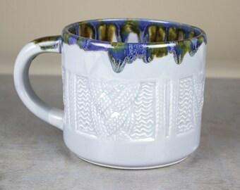Very large handmade ceramic mug, Grey Gray Sweater Mug Coffee cup, knitter gift, soup mug, modern gift for all, BlueRoomPottery