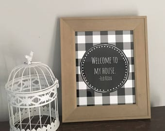 Buffalo Plaid Decor. Welcome to my House. Farmhouse decor. Farmhouse decor Print. Instant download. Black and white decor