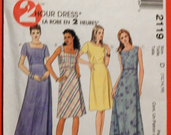 McCall's 2119 Easy to sew 2 Hour Dress pattern Uncut Sizes 12, 14 and 16