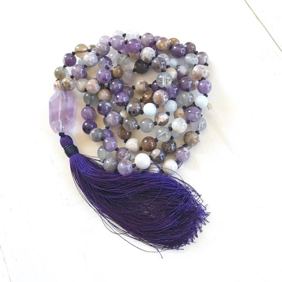 Flower Amethyst Mala Beads - Calm Fears Mala - 108 Bead Mala - Aquamarine Hand Knotted Mala - Meditation Mala Beads - Unique Mala Necklace