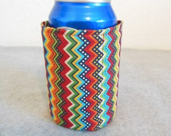 Insulated Can Cooler - Rainbow Chevron