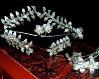 Elegant Vintage German Myrtle Wedding Crown with Partner Brooch~25th Wedding Anniversary Crown~Bridal Crown~ Elegant Silver Myrtle Crown