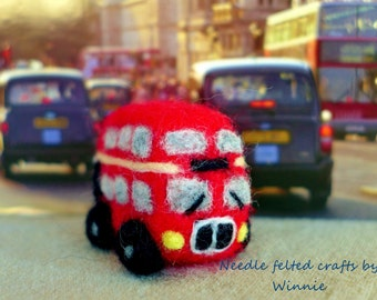 Double decker bus handcrafted Needle felted OOAK sculpture