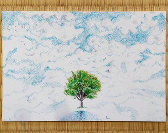 Postcard, In the heaven, hand-made drawing