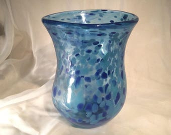 Large Blue Hand Blown Glass Vase.  Blown Glass Art Vase.  Wedding Gift.