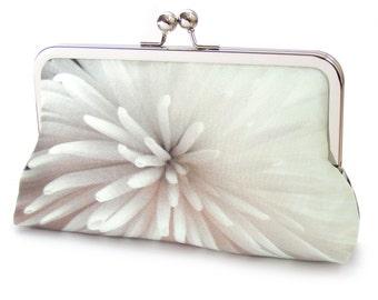 Silk clutch bag, starburst silk purse, ivory flower, white star, wedding bag, flower clutch, bridesmaid gift