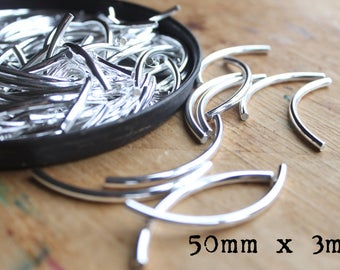 Madison Ave. Silver Plated Curved Long Noodle Tube Beads (50mm by 3mm) - (10)