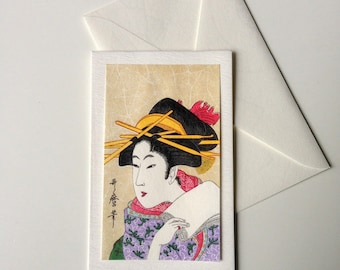 Card and envelope, pattern Japanese traditional UKIYOE UTAMARO BIJINNGA (F1320)