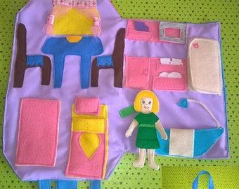 Travel Dollhouse and Felt Doll