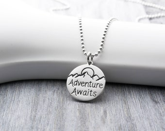 Adventure Awaits Necklace in Sterling Silver, Adventure Awaits Jewelry, Adventurer Gifts, Rock Climbing Necklace, Adventure Necklace