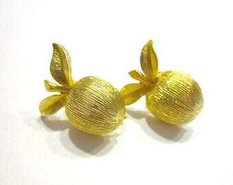 Vintage Gold Clip Earrings Sarah Coventry Apple Peach Earrings Gift for Her Gold Designer Earrings Gift for Mom