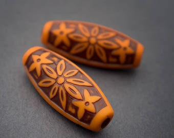 2 pcs - orange brown carved Lucite beads, tube, oval, ethnic, vintage, rustic • 28mm